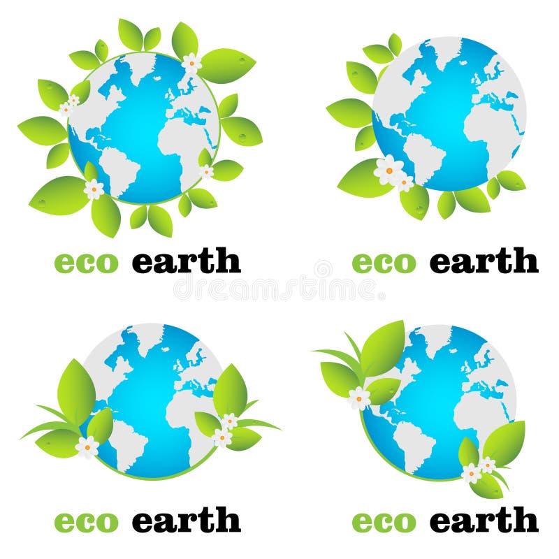 地球eco徽标 皇族释放例证