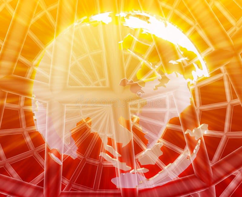 地球wireframe世界 向量例证