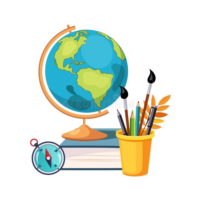 地理、地球和文字工具、套学校和在五颜六色的动画片样式的教育相关对象 向量例证