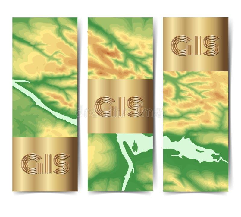 地理信息系统横幅设置与地形学背景传染媒介颜色 皇族释放例证