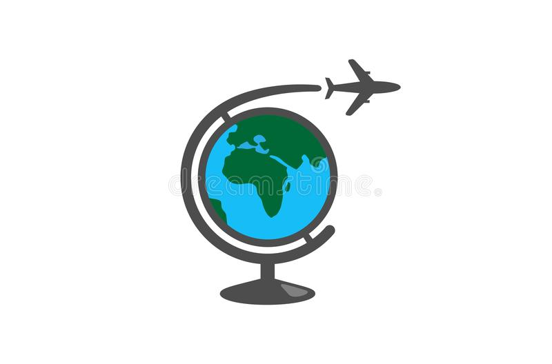 地理全球性飞机创造性的空气商标 向量例证
