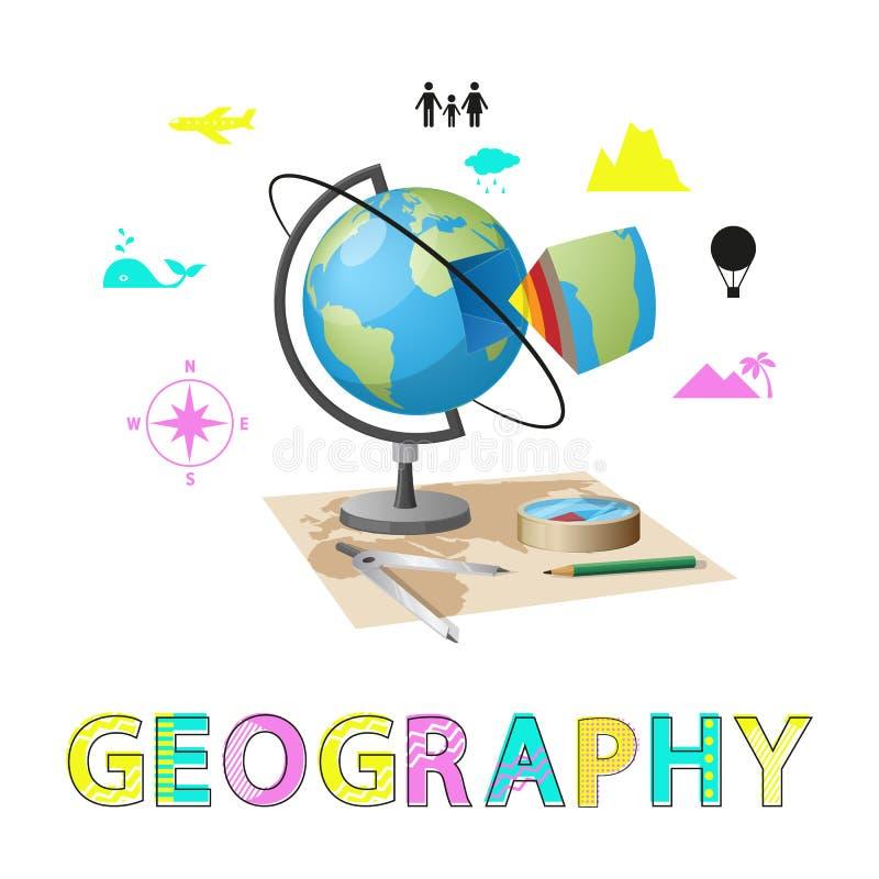 地理海报和地球传染媒介例证 皇族释放例证