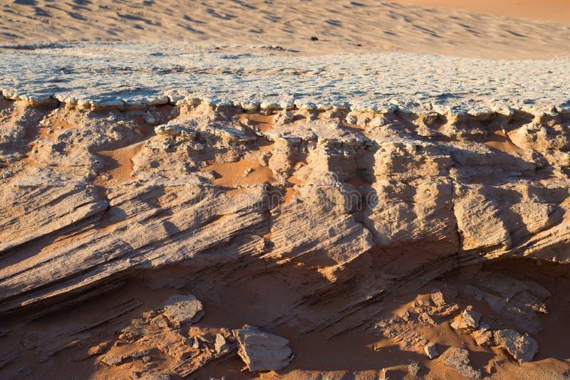 地质和地层学在Sossusvlei,纳米比亚 横渡层状化石沙丘在黏土和盐水平的地层下 免版税库存图片