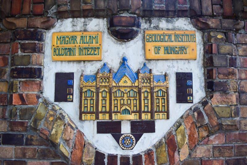地质学院的大厦在布达佩斯 免版税库存图片