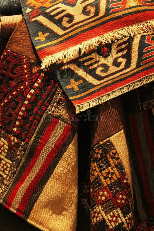 地道手工制造土耳其地毯 库存照片
