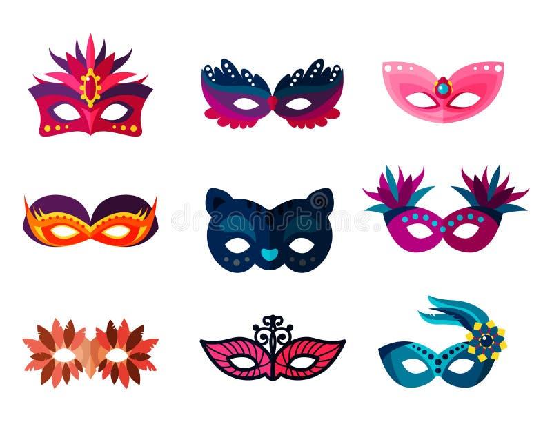 地道手工制造威尼斯式被绘的狂欢节面罩党装饰化妆舞会传染媒介例证 皇族释放例证