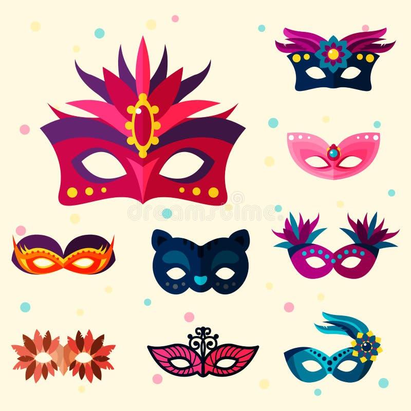 地道手工制造威尼斯式被绘的狂欢节面罩党装饰化妆舞会传染媒介例证 向量例证