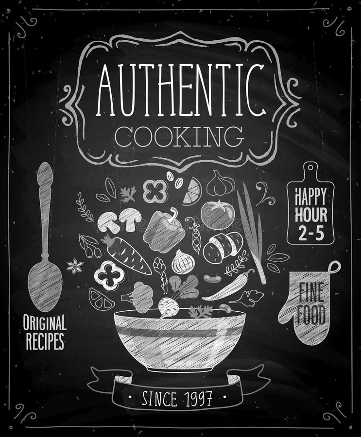 地道烹调海报-黑板样式 皇族释放例证