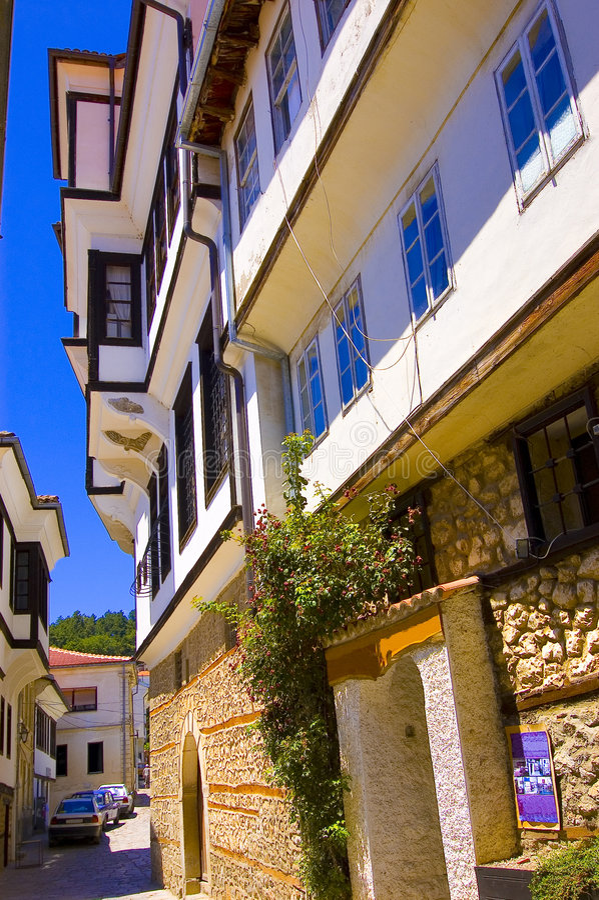 地道美丽的房子马其顿住宅 免版税库存照片