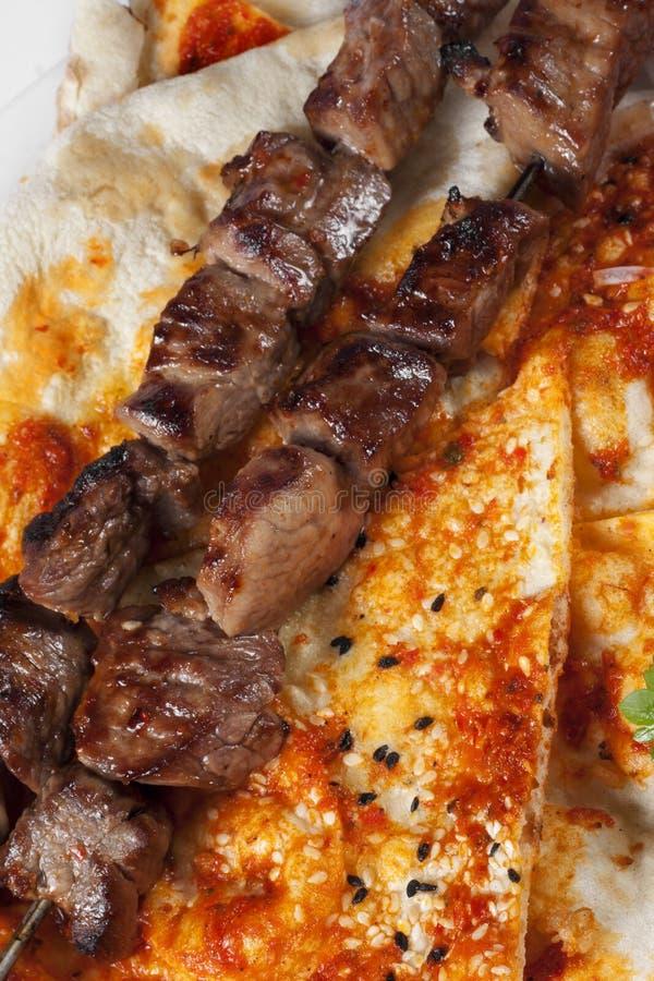 地道面包kebab pita shish土耳其 库存图片