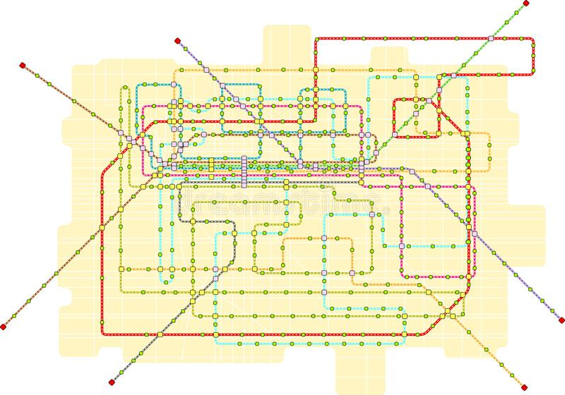 地铁一个大城市的公共交通地图,虚构的vect 向量例证