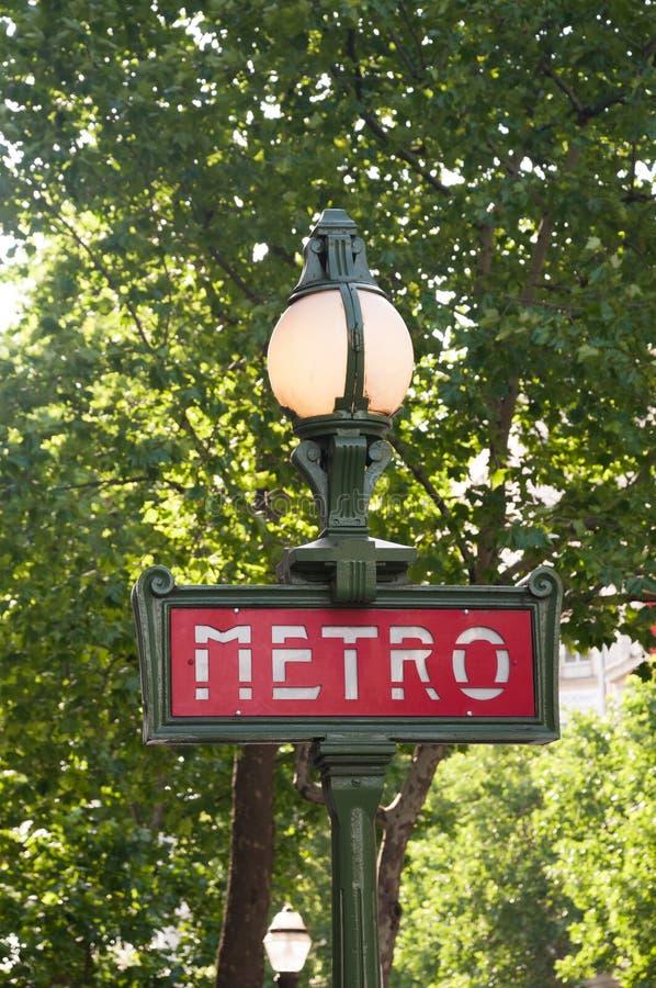 地铁从巴黎的标志标志Â 法国 库存照片