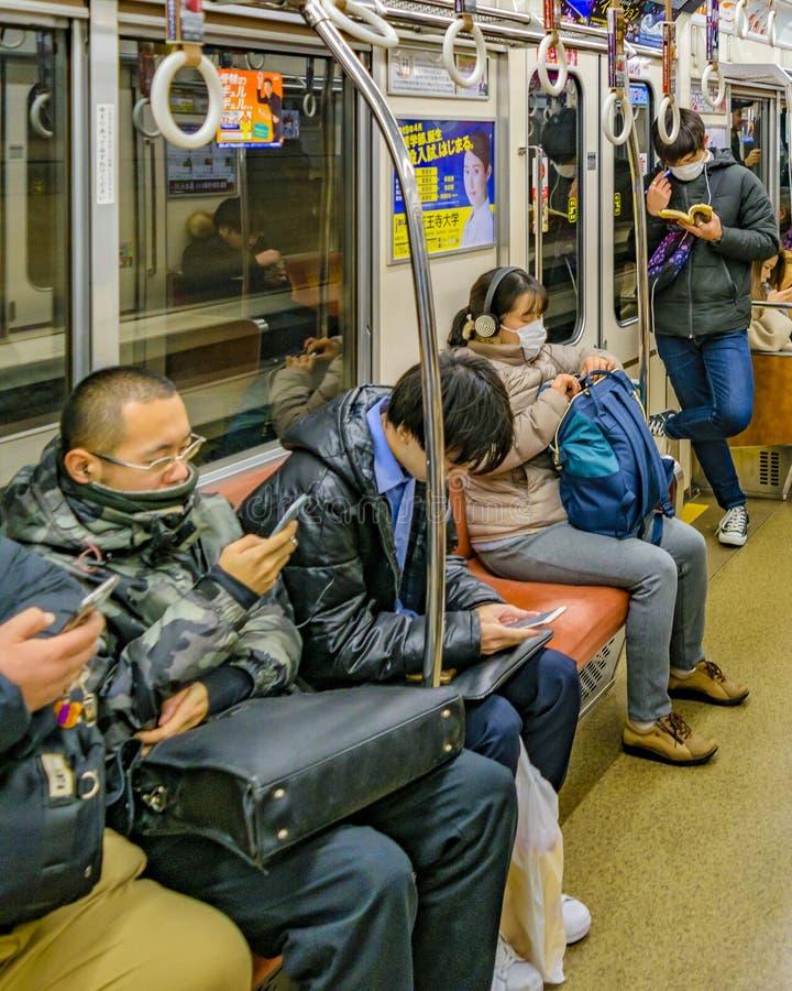 地铁内部,大阪,日本 免版税图库摄影