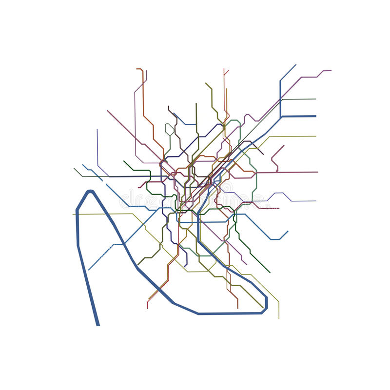 巴黎地铁地图 向量例证