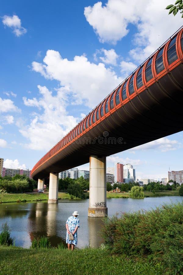 地铁地铁在驻地通过在池塘,晴朗的夏日,布拉格的胡尔卡和Luziny之间的overground隧道 库存照片