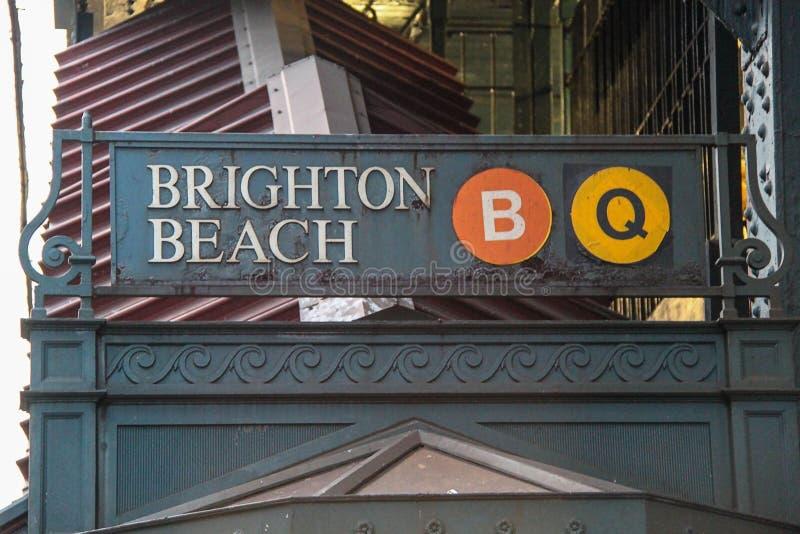 地铁布赖顿海滩牌看法  知名的纽约地区概念 图库摄影