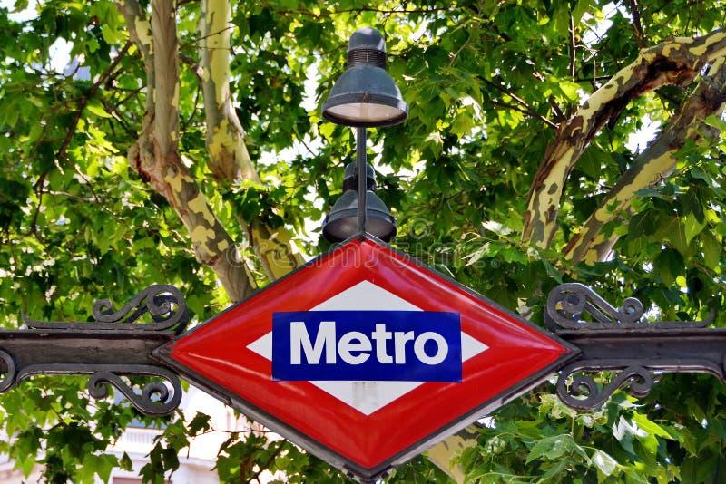 地铁标志马德里,西班牙 库存图片