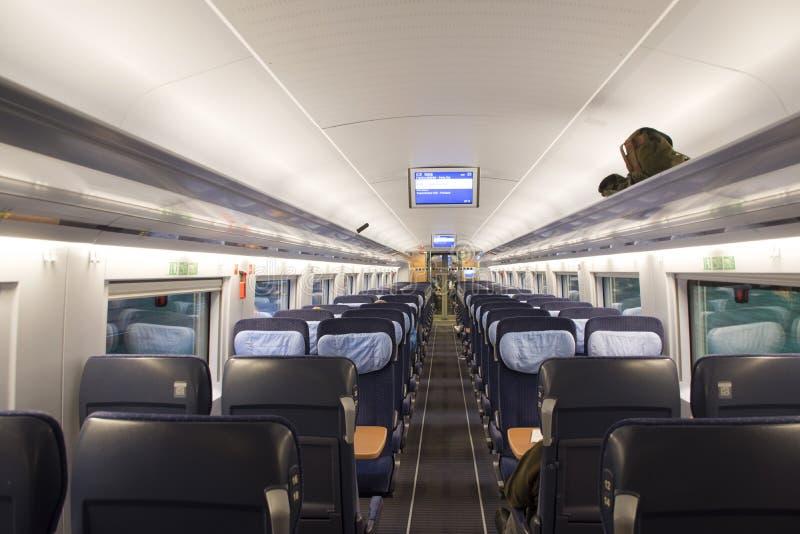 地铁的里面运行从德国的旅途火车的去法国 库存照片