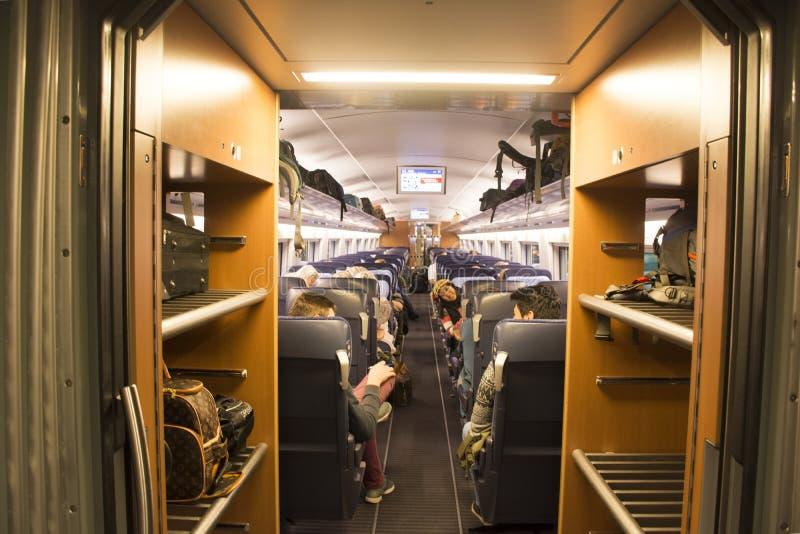 地铁的里面运行从德国的旅途火车的去法国 库存图片