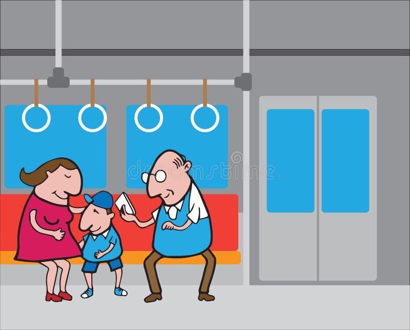 地铁的2人们 向量例证