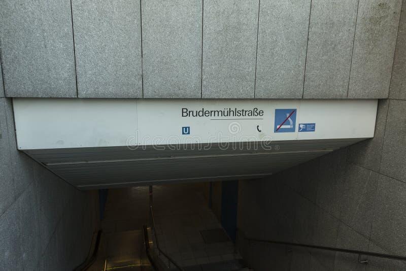 地铁站Brudermuhlstrasse在慕尼黑,德国 免版税库存图片