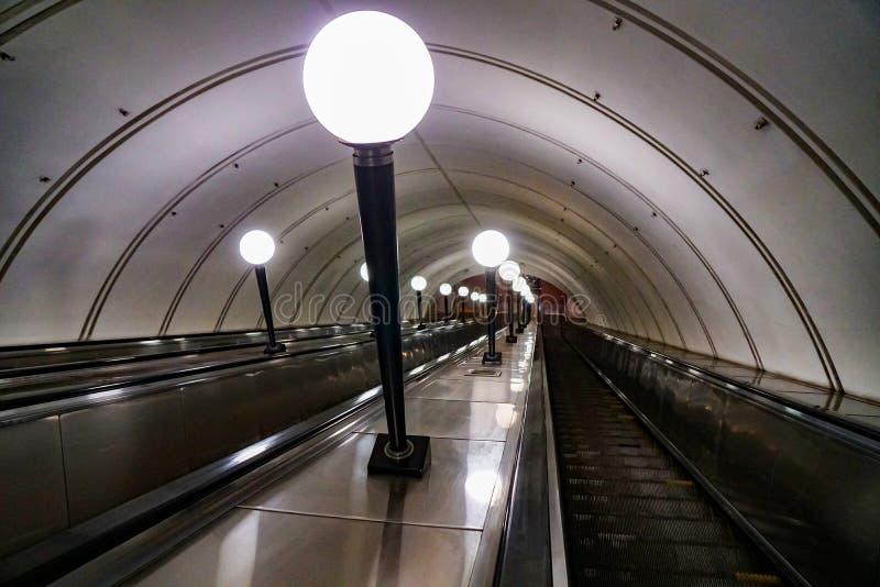 地铁自动扶梯,俄罗斯 库存照片