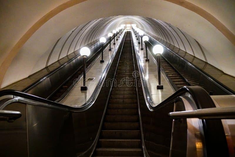 地铁自动扶梯,俄罗斯 免版税库存图片