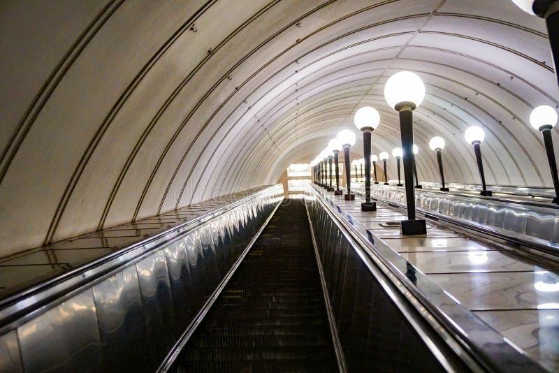 地铁自动扶梯,俄罗斯 免版税图库摄影