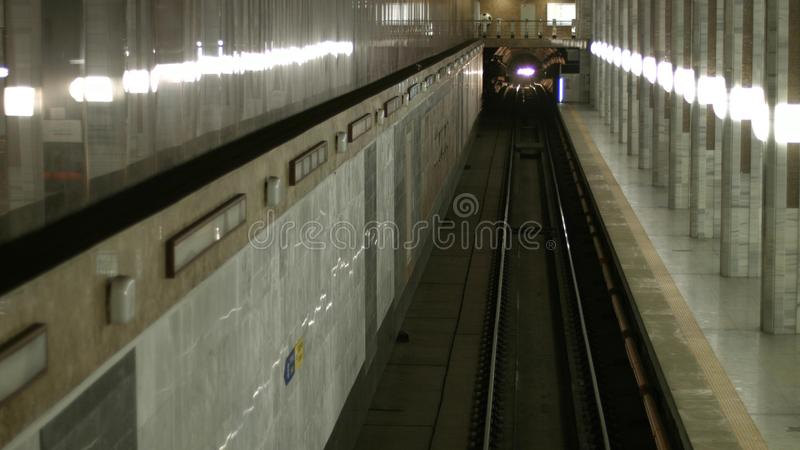 地铁隧道的看法 免版税库存图片