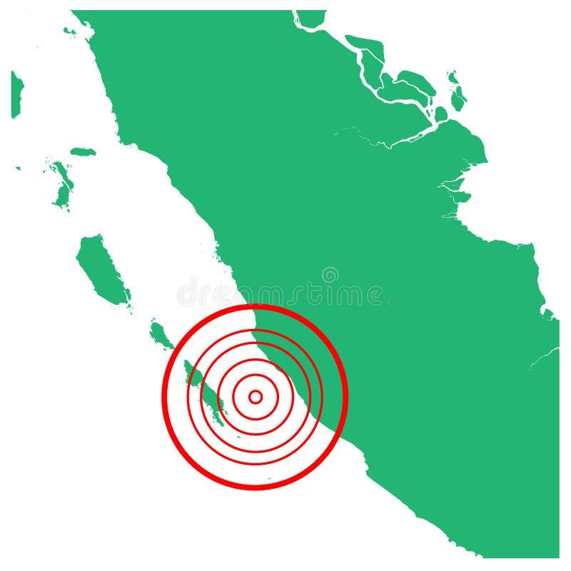 地震和海啸在明古鲁省苏门答腊岛,有圈子受影响的区域例证传染媒介的印度尼西亚 库存例证