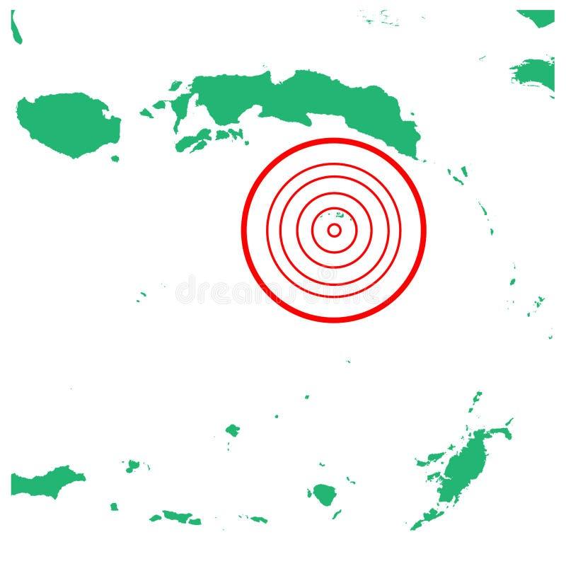 地震和海啸在Banda海峡马鲁古省,有圈子受影响的区域例证传染媒介的印度尼西亚 向量例证