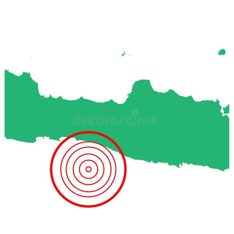 地震和海啸在cilacap Java,印度尼西亚有圈子受影响的区域例证传染媒介的 向量例证