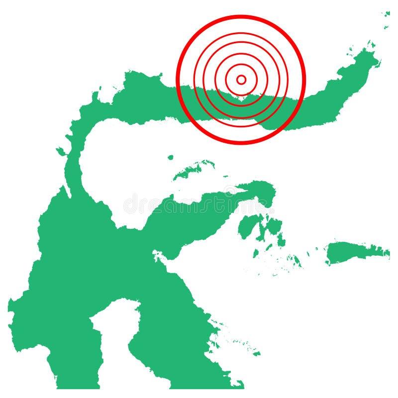 地震和海啸在gorontalo苏拉威西岛,印度尼西亚有圈子受影响的区域例证传染媒介的 库存例证