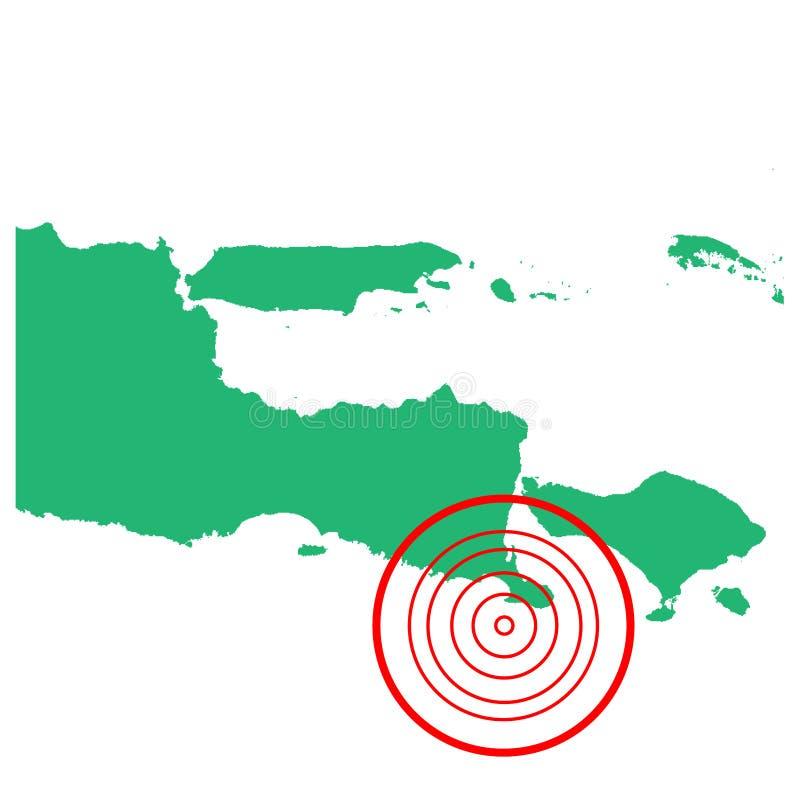 地震和海啸在jembrana巴厘岛,印度尼西亚有圈子受影响的区域例证传染媒介的 向量例证