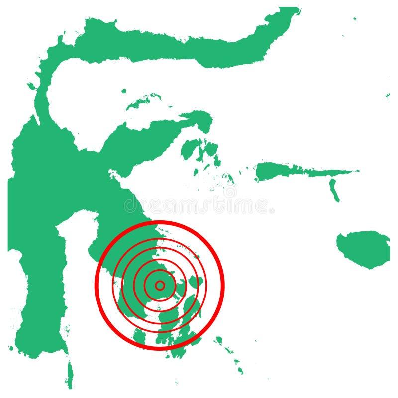 地震和海啸在kendari苏拉威西岛,印度尼西亚有圈子受影响的区域例证传染媒介的 库存例证