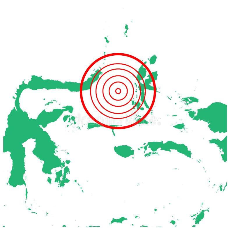 地震和海啸在maluku,印度尼西亚有圈子受影响的区域例证传染媒介的 库存例证