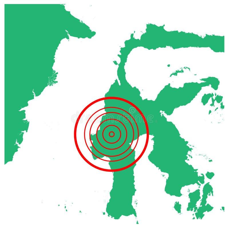 地震和海啸在mamasa苏拉威西岛,印度尼西亚有圈子受影响的区域例证传染媒介的 库存例证