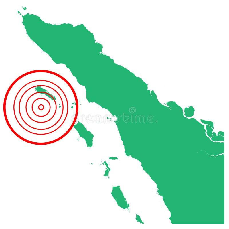地震和海啸在Simeulue苏门答腊岛,有圈子受影响的区域例证传染媒介的印度尼西亚 皇族释放例证