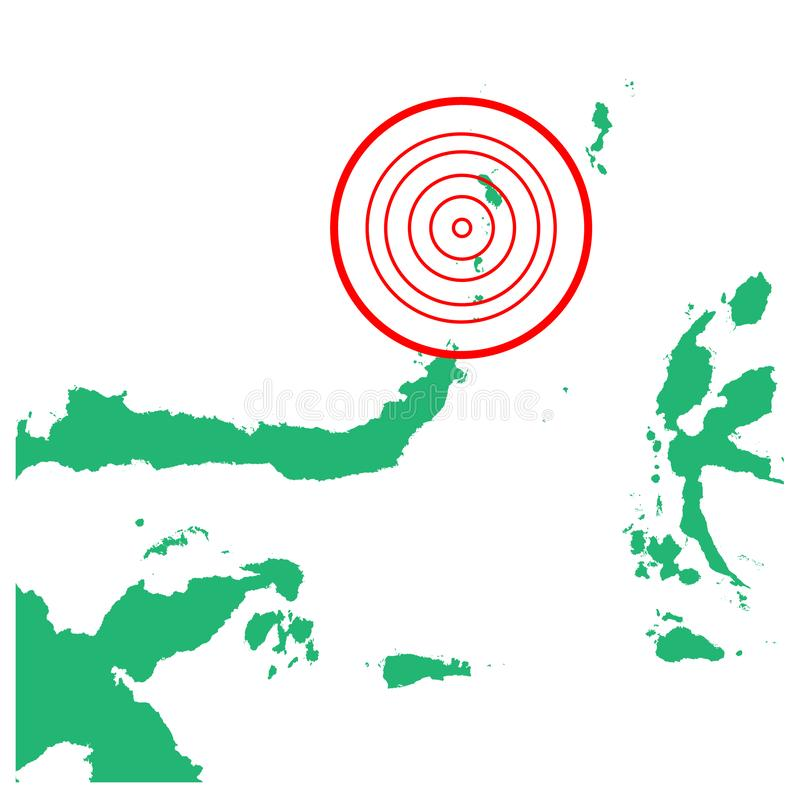 地震和海啸在Sutaro海岛苏拉威西岛,有圈子受影响的区域例证传染媒介的印度尼西亚 向量例证