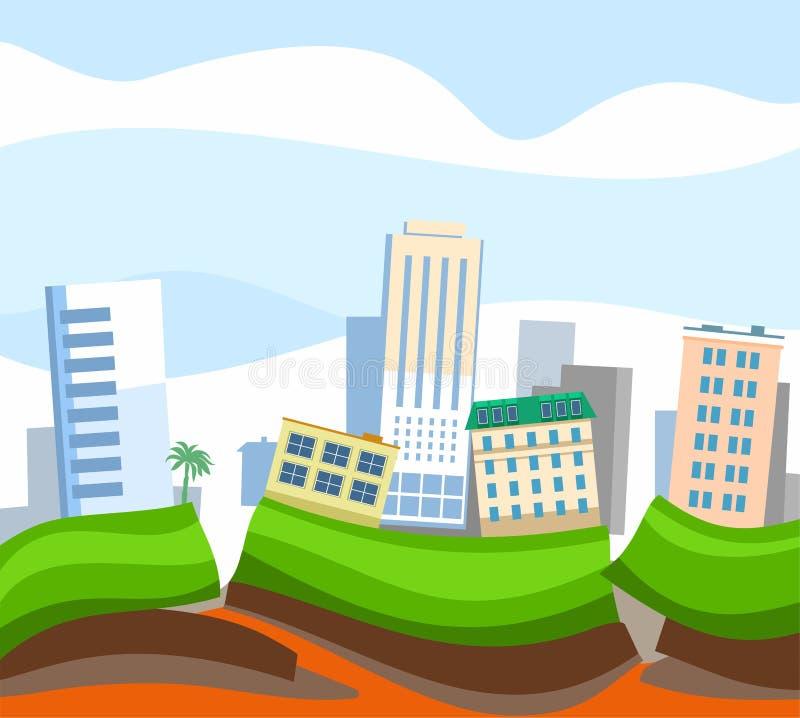 地震在城市,色的图片,传染媒介 向量例证