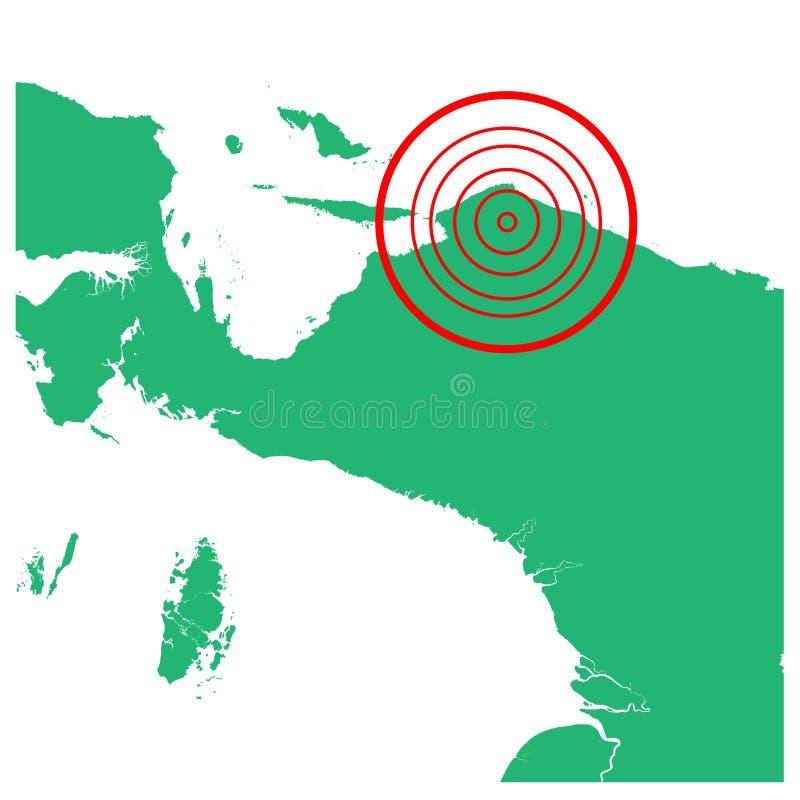 地震巴布亚,有圈子受影响的区域例证传染媒介的印度尼西亚 皇族释放例证