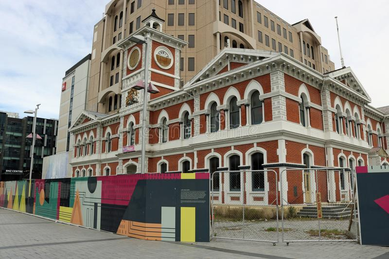 地震损伤克赖斯特切奇中央邮局 库存照片