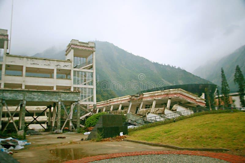 地震站点在轩寇中学 库存照片