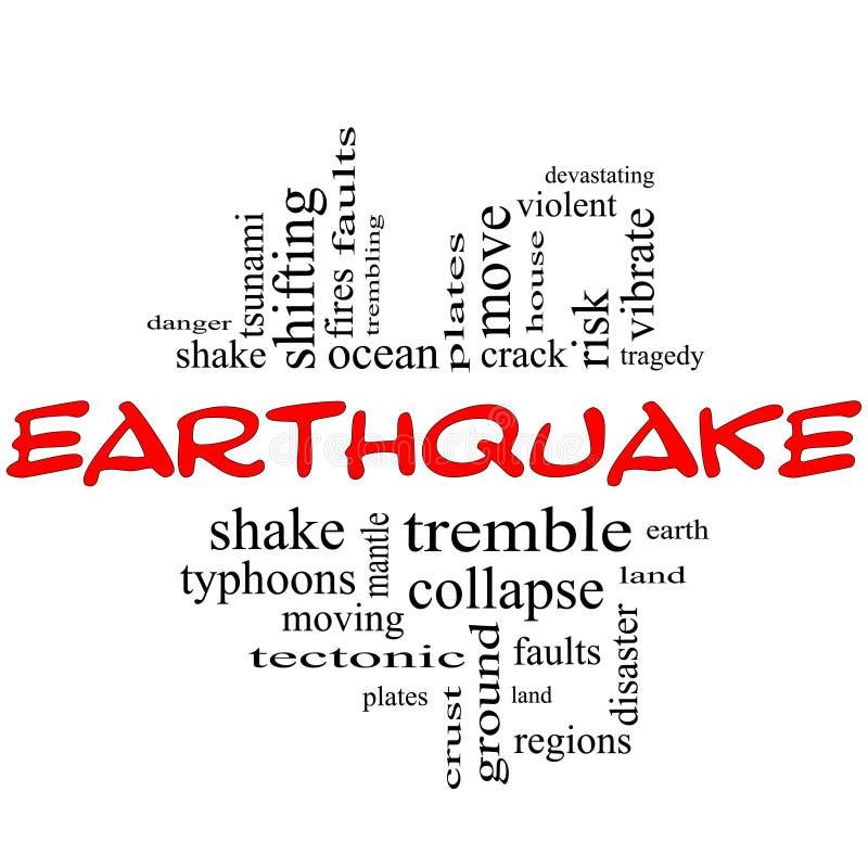 地震词在红色&黑色的云彩概念 库存例证