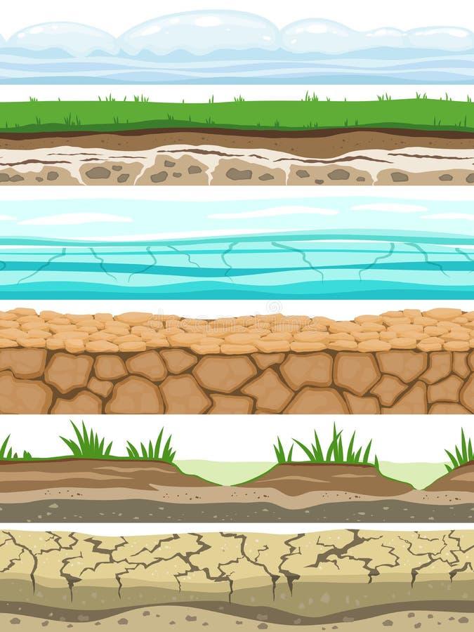 地面无缝的水平 沙漠地面土地土壤冰草纹理水石表面 比赛ui传染媒介 库存例证