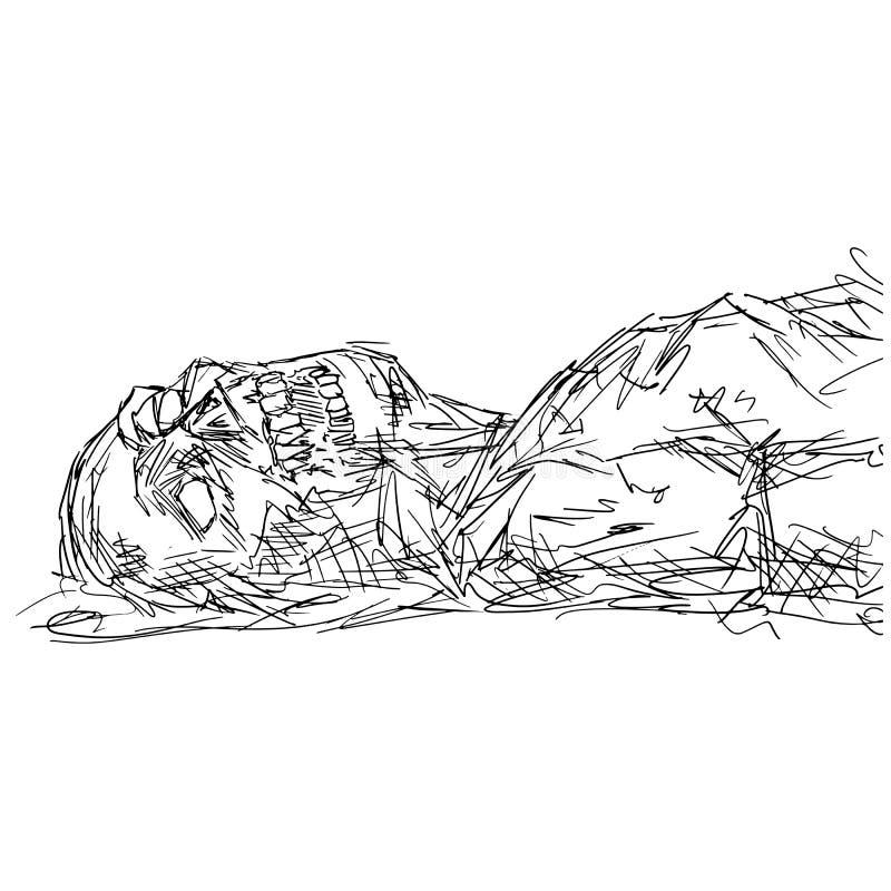 地面画图画涂鸦手的特写僵尸躺在白色上 皇族释放例证