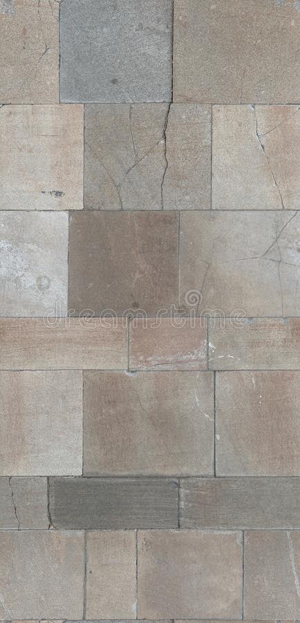 地面铺磁砖了石路面 3d材料的无缝的散开纹理 扫描 免版税库存图片