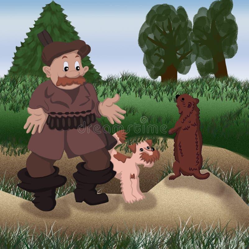 地鼠猎犬祖父猎人雪微笑逗人喜爱的童年儿童年轻玩具自然秋天圣诞老人乐趣装饰树公园h 向量例证