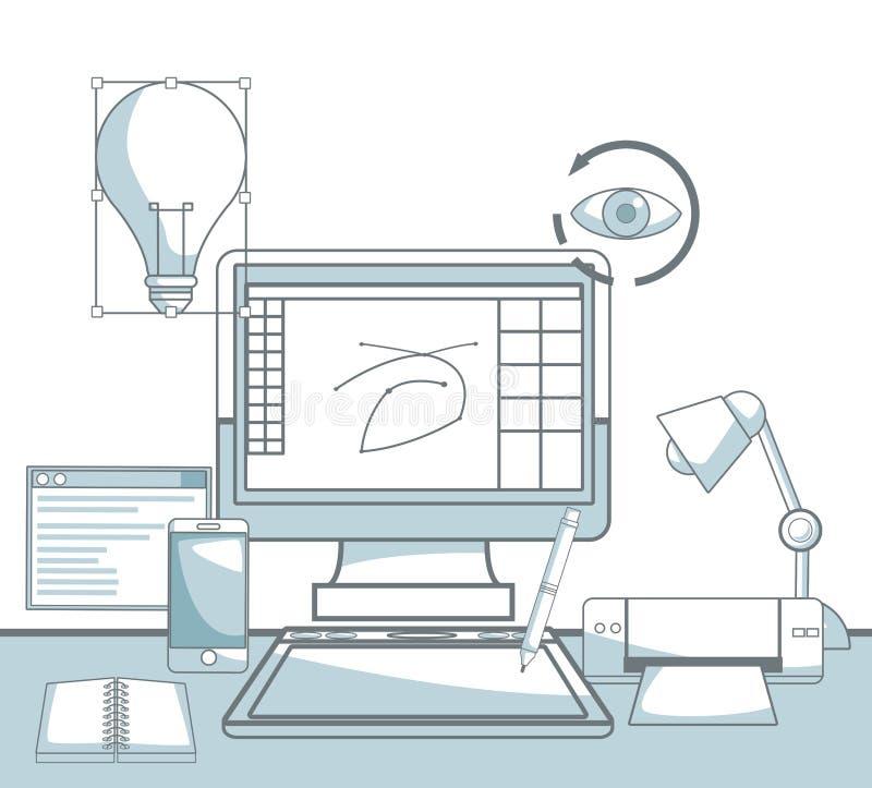 场面剪影颜色区分技术设备计算机和元素图形设计阴影  向量例证