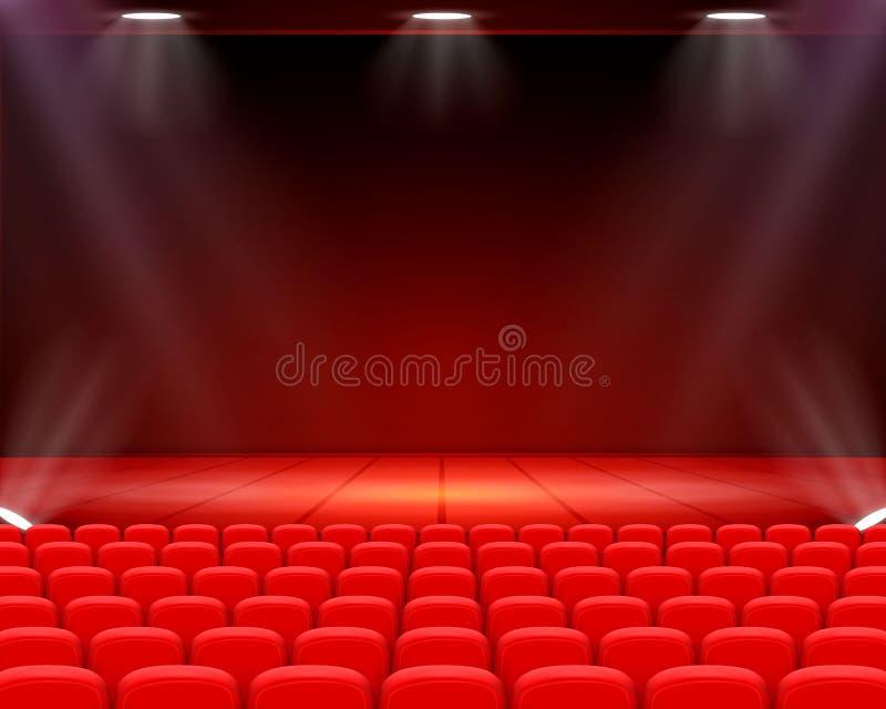 场面戏院背景艺术,在阶段的表现 向量例证